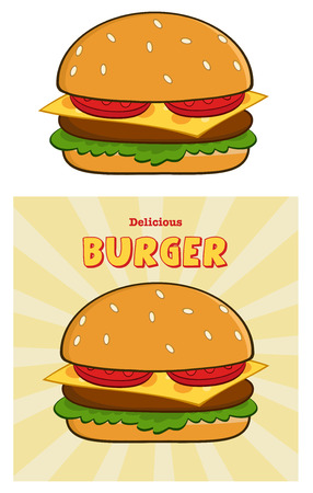 tempting: Delicious Burger Design Card With Text. Collection Set