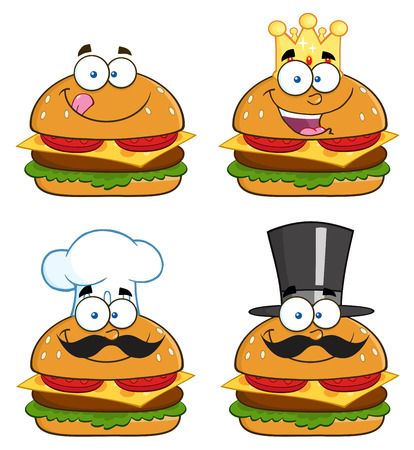 classic burger: Cartoon Illustration Of Hamburger Characters. Collection Set Illustration