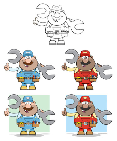 Cartoon Illustration Of Mechanic Character 3. Collection Set