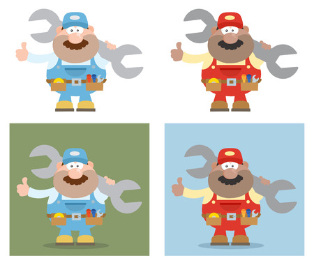 Flat Style Cartoon Illustration Of Mechanic Character 4. Collection Set Ilustrace