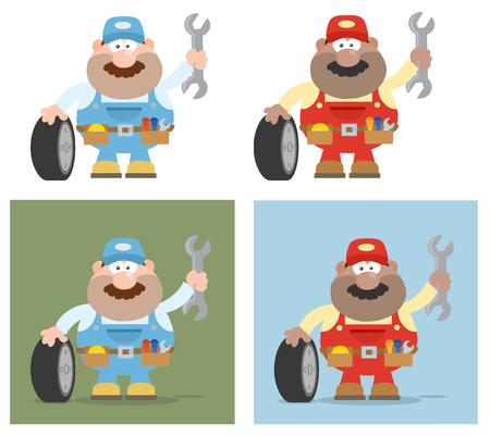 flat tire: Flat Style Cartoon Illustration Of Mechanic Character 9. Collection Set Illustration