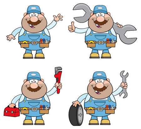 worker cartoon: Cartoon Illustration Of Mechanic Character 6. Collection Set Illustration