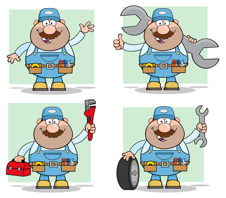 Cartoon Illustration Of Mechanic Character 7. Collection Set Ilustrace