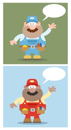 Flat Style Mechanic Cartoon Character Waving For Greeting. Collection Set Vector