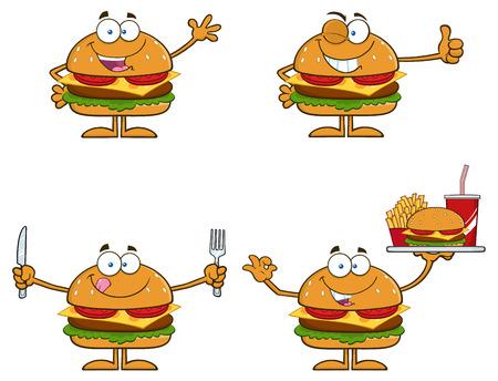 carne asada: Cartoon Ilustración De Caracteres Hamburger 1. Conjunto Colección Aislado En Blanco Vectores