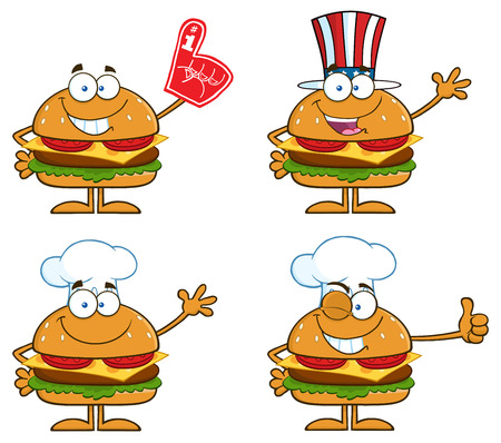 Cartoon Illustration Of Hamburger Characters 3. Collection Set Isolated On White