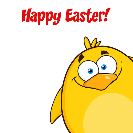 looking in corner: Happy Easter With Yellow Chick Cartoon Character Looking From A Corner. Illustration Isolated On White
