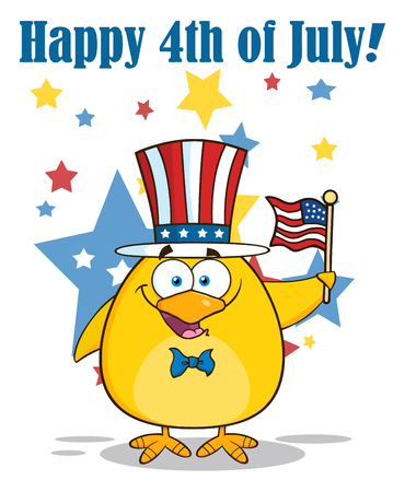 Patriotic Yellow Chick Cartoon Character Waving An American Flag On Independence Day. Illustration With Text