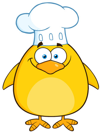 character illustration: Funny Chef Yellow Chick Cartoon Character. Illustration Isolated On White Illustration