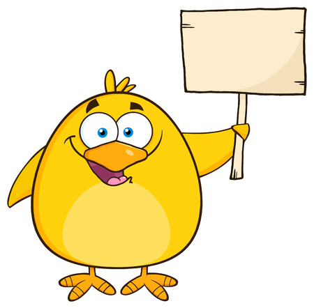 funny birthday: Happy Yellow Chick Cartoon Character Holding A Wooden Sign. Illustration Isolated On White