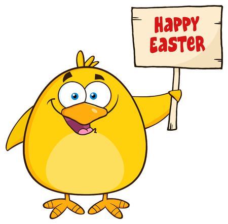 funny easter: Happy Yellow Chick Cartoon Character Holding A Happy Easter Sign. Illustration Isolated On White Illustration