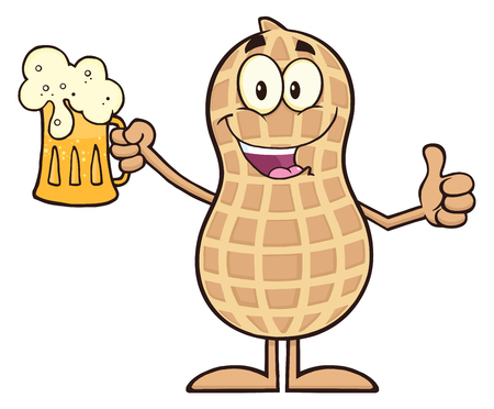 Happy Peanut Cartoon Character Holding A Beer And Thumb Up.  Illustration Isolated On White Иллюстрация