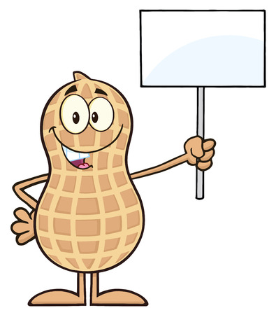 Peanut Cartoon Character Holding Up A Blank Sign.  Illustration Isolated On White 向量圖像