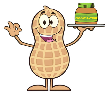 primate biology: Peanut Cartoon Character Holding A Jar Of Peanut Butter.  Illustration Isolated On White