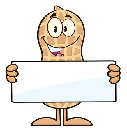 Peanut Cartoon Character Holding a Blank Sign. Illustration Isolated On White Illustration