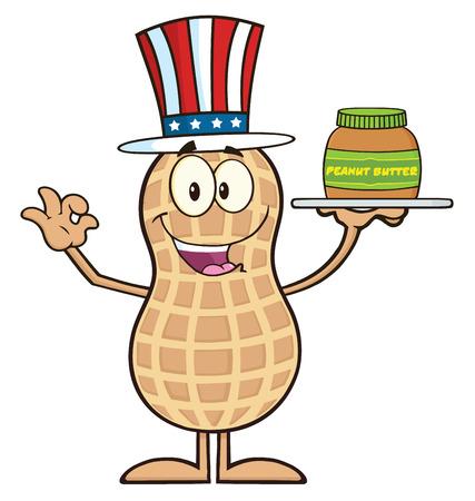 American Peanut Cartoon Character Holding A Jar Of Peanut Butter. Illustration Isolated On White 일러스트