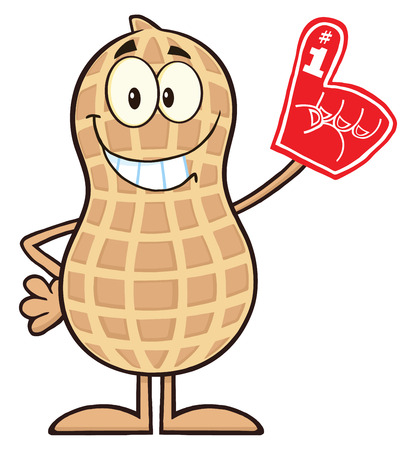Smiling Peanut Cartoon Character Wearing A Foam Finger. Illustration Isolated On White