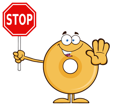 Smiling Donut Cartoon Character Holding A Stop Sign. Illustration Isolated On White