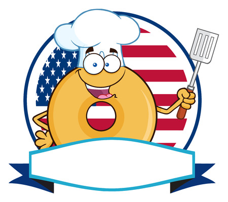 Chef Donut Cartoon Character Over A Circle Blank Banner In Front Of Flag Of USA. Illustration Isolated On White