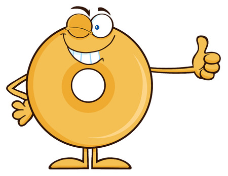 Winking Donut Cartoon Character Giving A Thumb Up.  Illustration Isolated On White