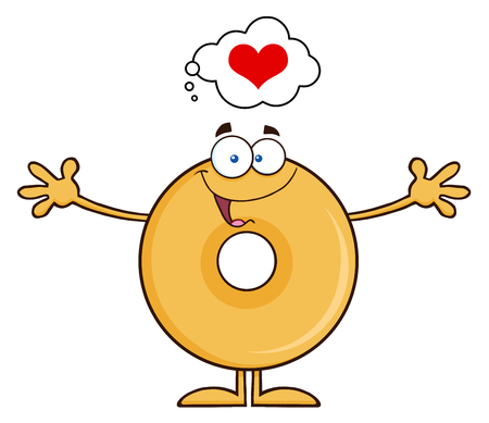 Funny Donut Cartoon Character Thinking Of Love And Wanting A Hug. Illustration Isolated On White Illustration