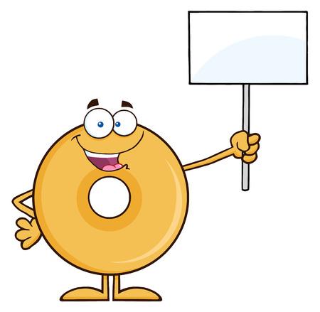 aliments droles: Heureux Personnage Donut Cartoon tenant un Blank Sign. Illustration isol� sur blanc