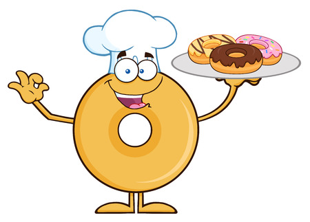 Donut Cartoon Character Wearing A Chef Hat And Serving Donuts. Illustration Isolated On White Ilustração