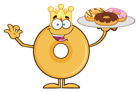 King Donut Cartoon Character Serving Donuts.  Illustration Isolated On White