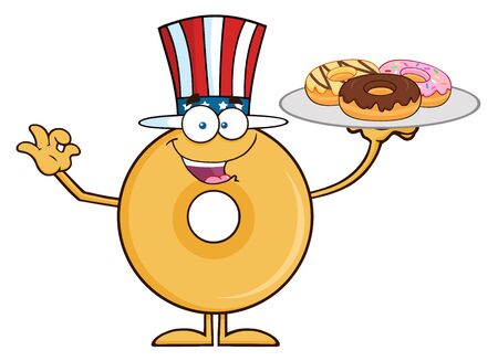 American Donut Cartoon Character Serving Donuts. Illustration Isolated On White