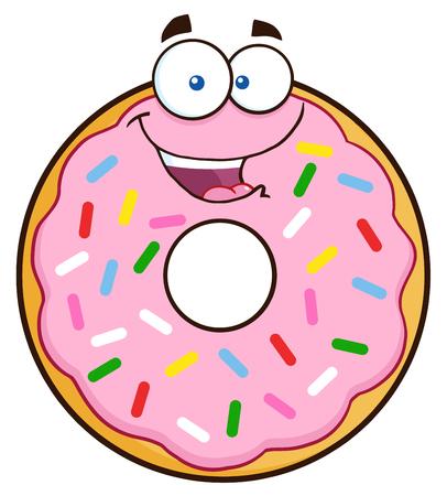 Gelukkig Karakter Donut Cartoon met bestrooit. Illustratie geïsoleerd op wit Stock Illustratie