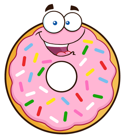 Happy Donut Cartoon Character With Sprinkles. Illustration Isolated On White Illustration