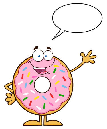 Cute Donut Cartoon Character With Sprinkles Waving. Illustration Isolated On White With Speech Bubble Illustration