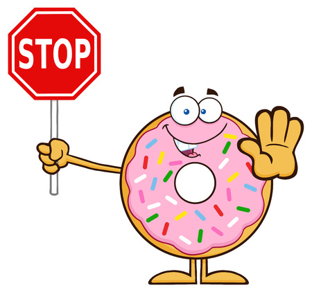 sprinkles: Smiling Donut Cartoon Character With Sprinkles Holding A Stop Sign. Illustration Isolated On White