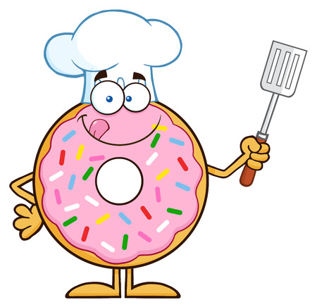 slotted: Chef Donut Cartoon Character With Sprinkles Holding A Slotted Spatula. Illustration Isolated On White