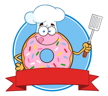 Chef Donut Cartoon Character With Sprinkles Circle Label. Illustration Isolated On White Illustration