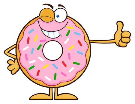 Winking Donut Cartoon Character With Sprinkles Giving A Thumb Up. Illustration Isolated On White