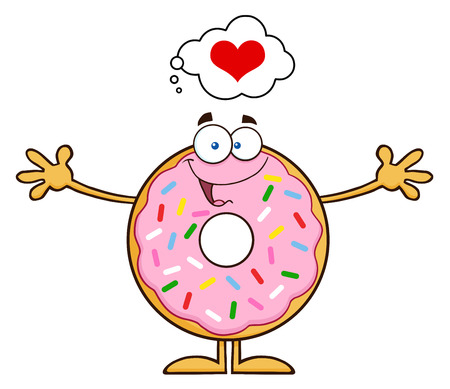 tasteful: Funny Donut Cartoon Character With Sprinkles Thinking Of Love And Wanting A Hug. Illustration Isolated On White