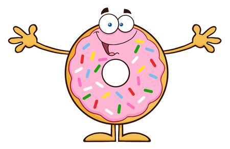 excited cartoon: Funny Donut Cartoon Character With Sprinkles Wanting A Hug.  Illustration Isolated On White