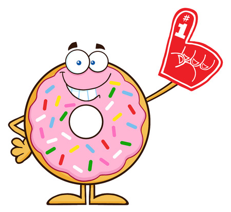 Smiling Donut Cartoon Character With Sprinkles Wearing A Foam Finger. Illustration Isolated On White Illustration