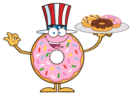 American Donut Cartoon Character Serving Donuts.  Illustration Isolated On White Illustration