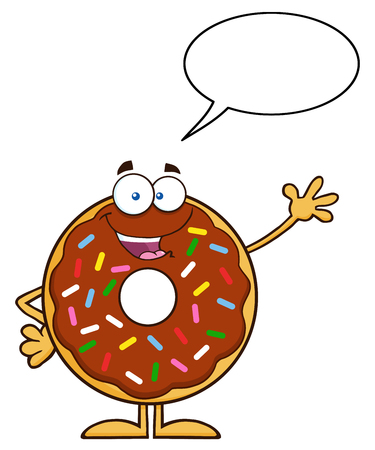 Cute Chocolate Donut Cartoon Character With Sprinkles Waving. Illustration Isolated On White With Speech Bubble