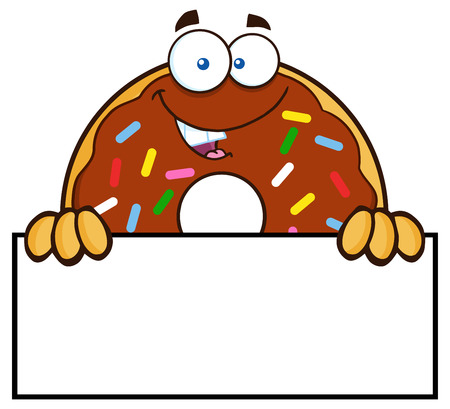 Chocolate Donut Cartoon Character With Sprinkles Over A Sign. Illustration Isolated On White Illustration