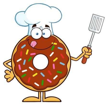 Chocolate Chef Donut Cartoon Character With Sprinkles Holding A Slotted Spatula. Illustration Isolated On White
