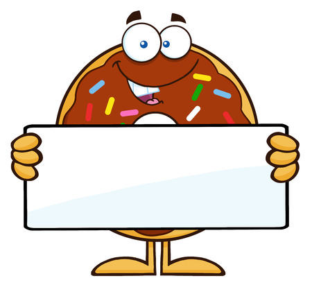 sprinkles: Chocolate Donut Cartoon Character With Sprinkles Holding a Blank Sign. Illustration Isolated On White
