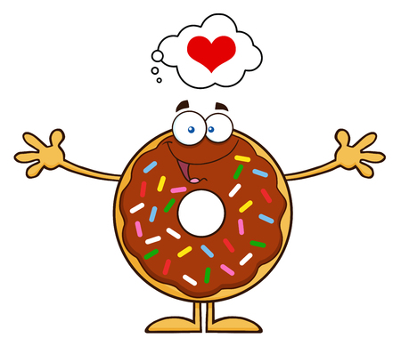 cake topping: Chocolate Donut Cartoon Character With Sprinkles Thinking Of Love And Wanting A Hug. Illustration Isolated On White Illustration