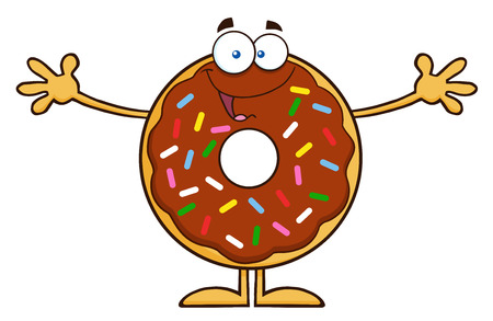 sprinkles: Chocolate Donut Cartoon Character With Sprinkles Wanting A Hug. Illustration Isolated On White