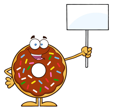 Happy Chocolate Donut Cartoon Character With Sprinkles Holding Up A Blank Sign. Illustration Isolated On White Illustration