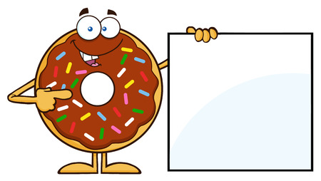 sprinkles: Chocolate Donut Cartoon Character With Sprinkles Showing A Blank Sign.  Illustration Isolated On White