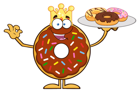 King Chocolate Donut Cartoon Character Serving Donuts. Illustration Isolated On White