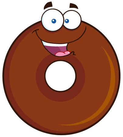 character illustration: Happy Chocolate Donut Cartoon Character. Illustration Isolated On White